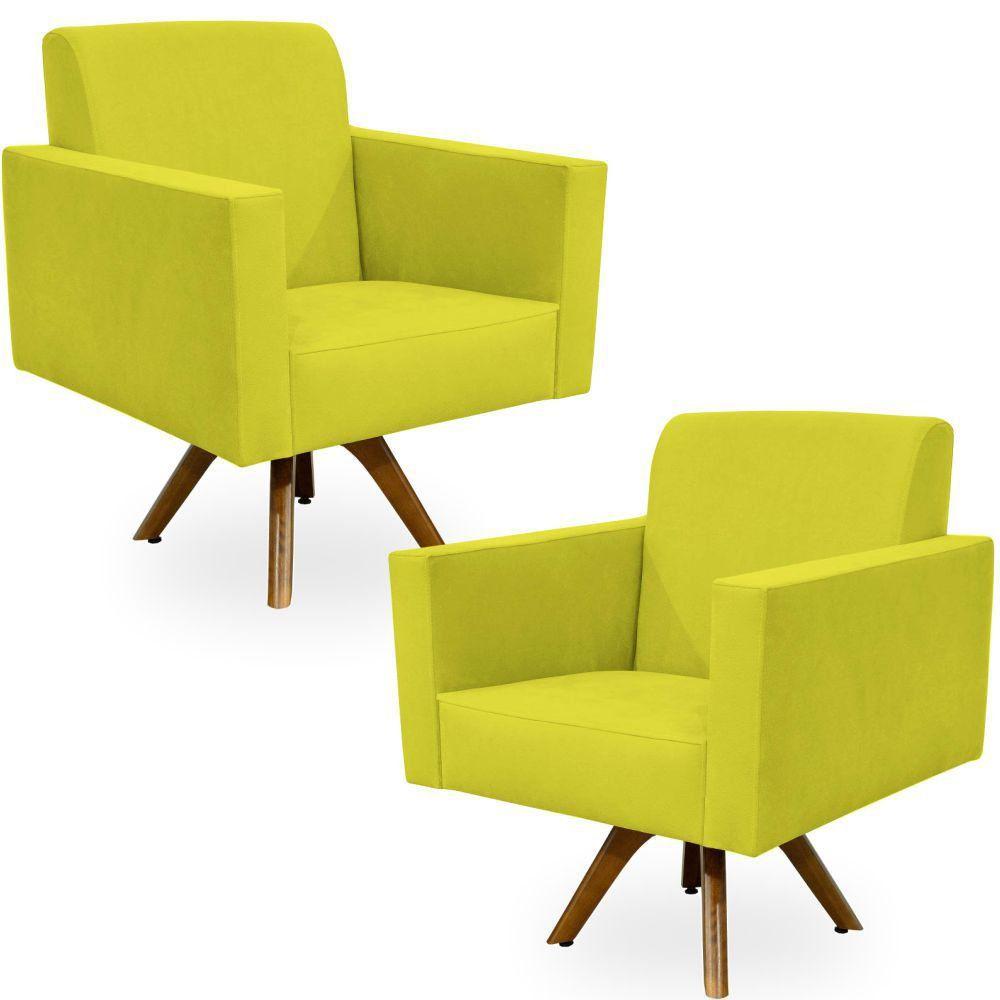Kit 02 Poltronas Decorativas Giratória Sala de Estar Base de Madeira Helô L02 Suede Amarelo - Lyam Decor