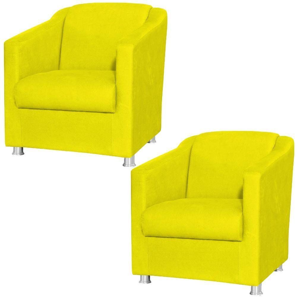 Kit 02 Poltronas Decorativas Laura L02 Suede Amarelo - Lyam Decor