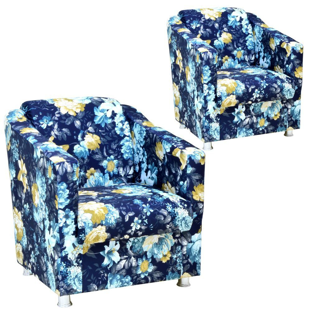 Kit 02 Poltronas Decorativas Laura L02 Azul Estampado - Lyam Decor