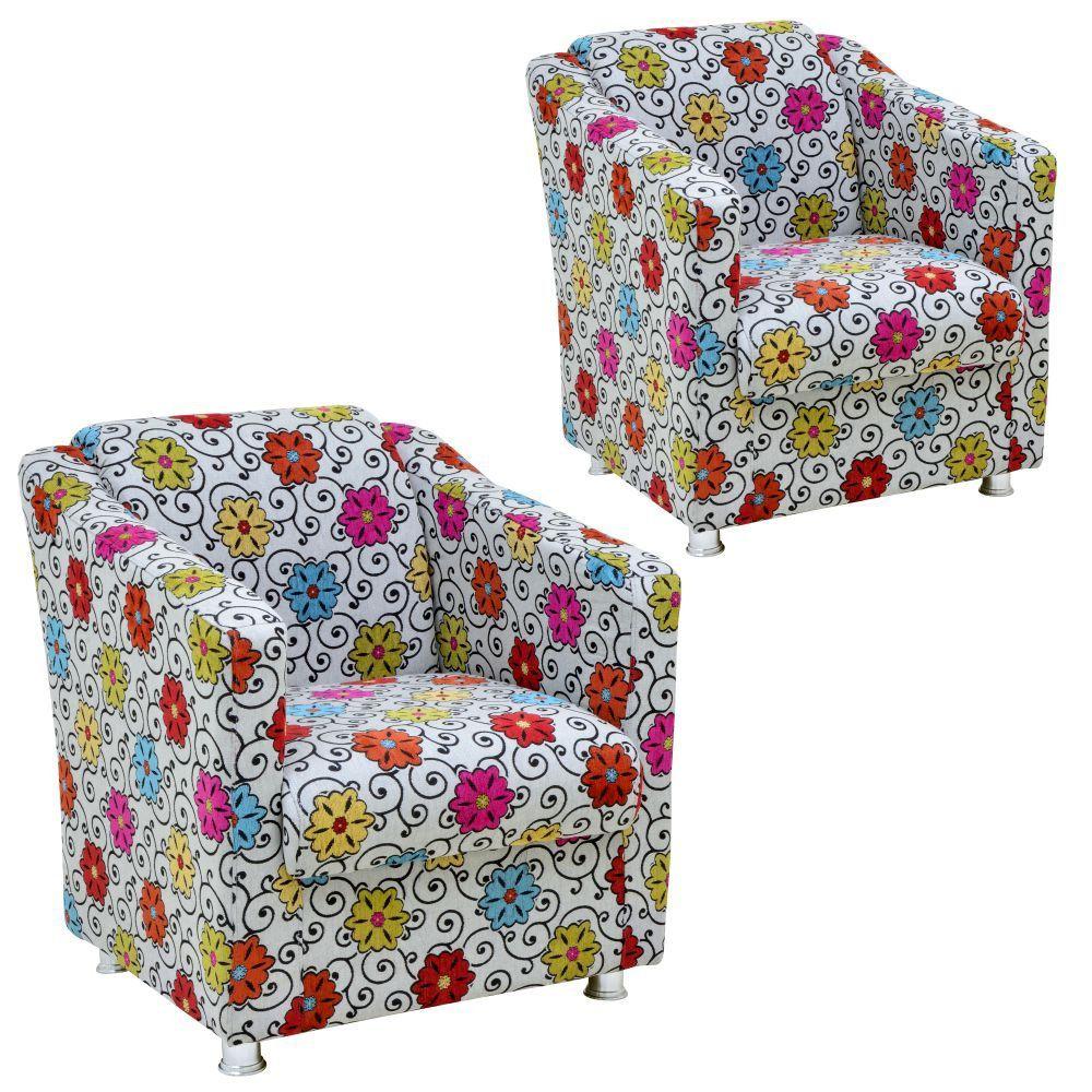 Kit 02 Poltronas Decorativas Laura L02 Tecido Linho Floral - Lyam Decor