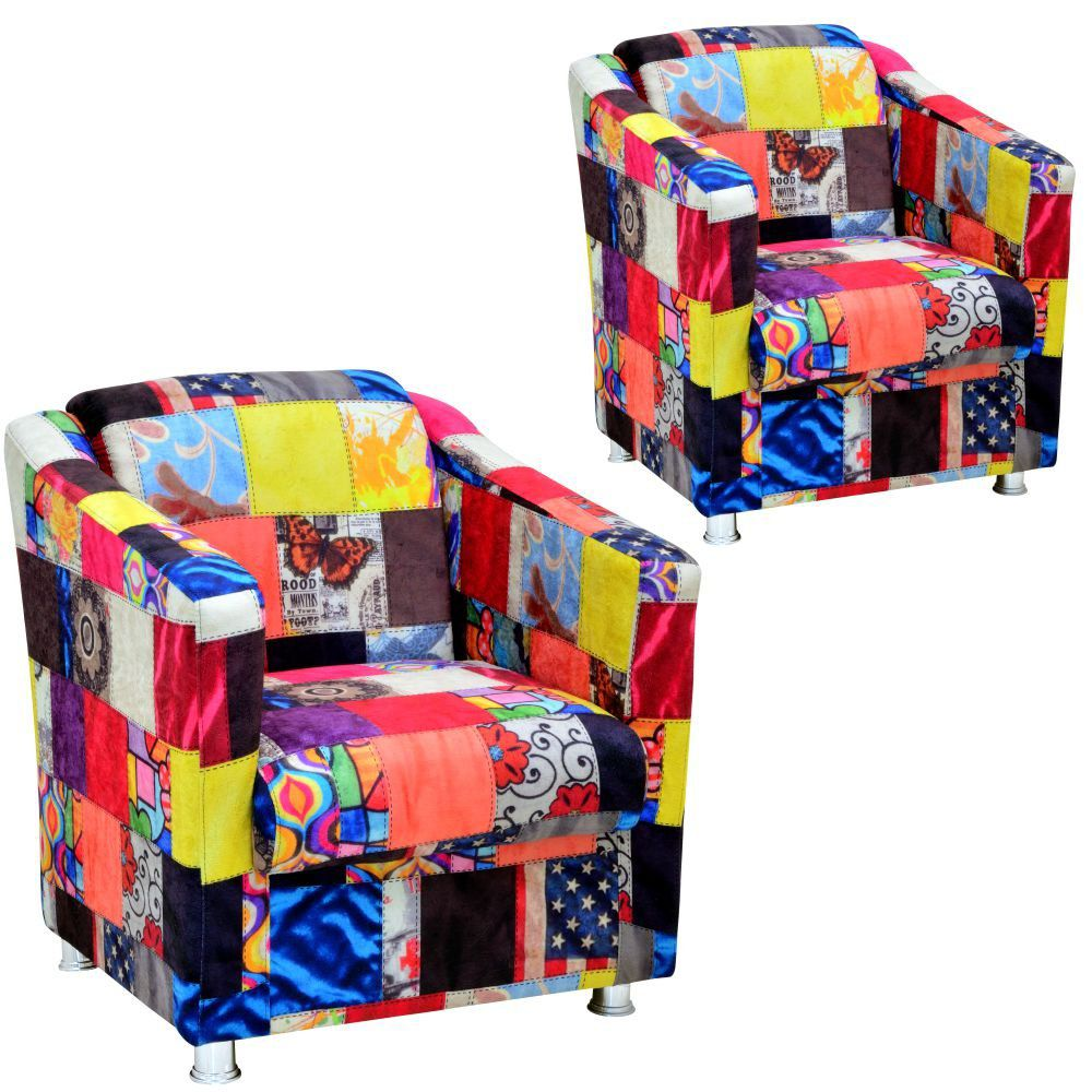 Kit 02 Poltronas Decorativas Laura L02 Patchwork - Lyam Decor