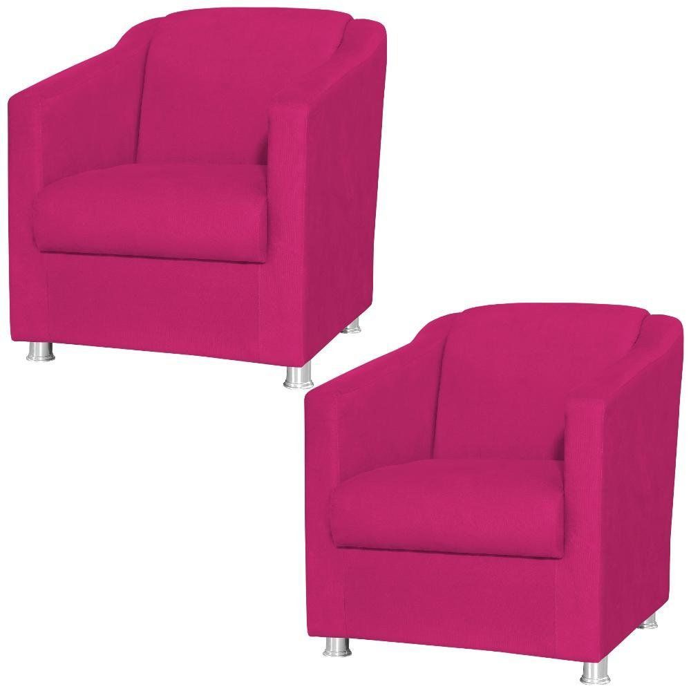 Kit 02 Poltronas Decorativas Laura L02 Suede Pink - Lyam Decor