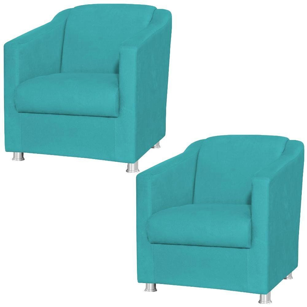 Kit 02 Poltronas Decorativas Laura L02 Suede Azul Claro - Lyam Decor