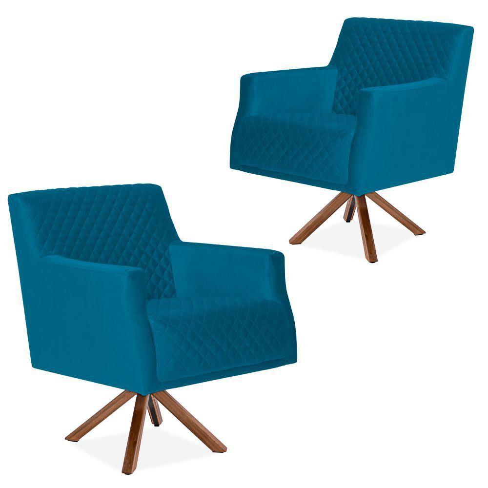 Kit 02 Poltronas Decorativas Para Sala de Estar Diva D02 Tressê Veludo Liso Azul Cobalto B-170 - Lyam Decor