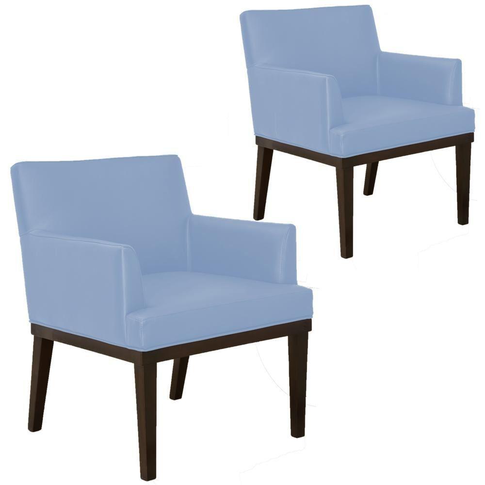 Kit 02 Poltronas Decorativas Para Sala de Estar e Recepção Beatriz W01 Corino Azul Claro - Lyam Decor