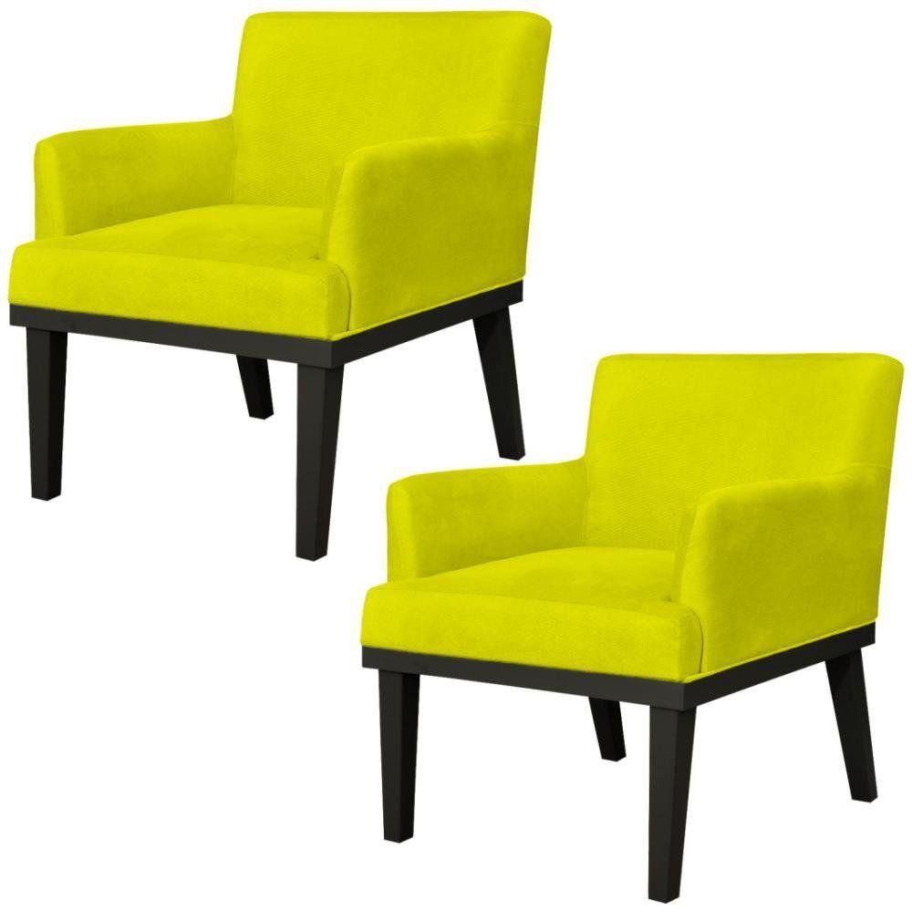 Kit 02 Poltronas Decorativas Para Sala de Estar e Recepção Beatriz W01 Suede Amarelo - Lyam Decor