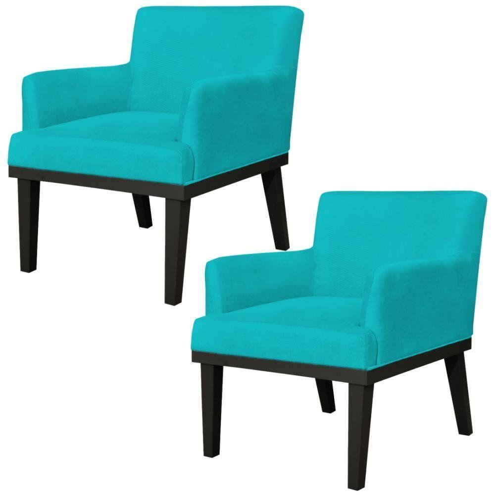 Kit 02 Poltronas Decorativas Para Sala de Estar e Recepção Beatriz W01 Suede Azul Claro - Lyam Decor