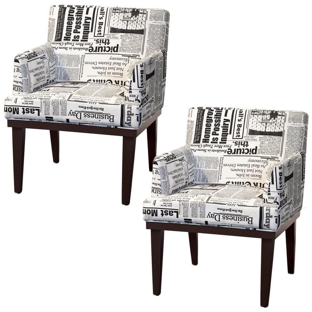 Kit 02 Poltronas Decorativas Para Sala de Estar e Recepção Beatriz W01 Suede Jornal - Lyam Decor