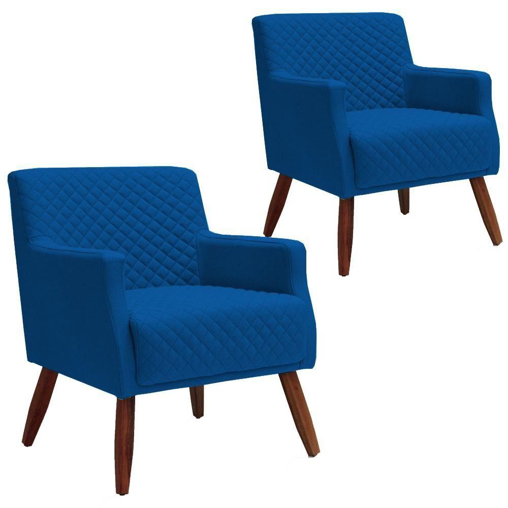 Kit 02 Poltronas Decorativas Para Sala de Estar e Recepção Diva D02 Tressê Veludo Azul B-170 - Lyam Decor