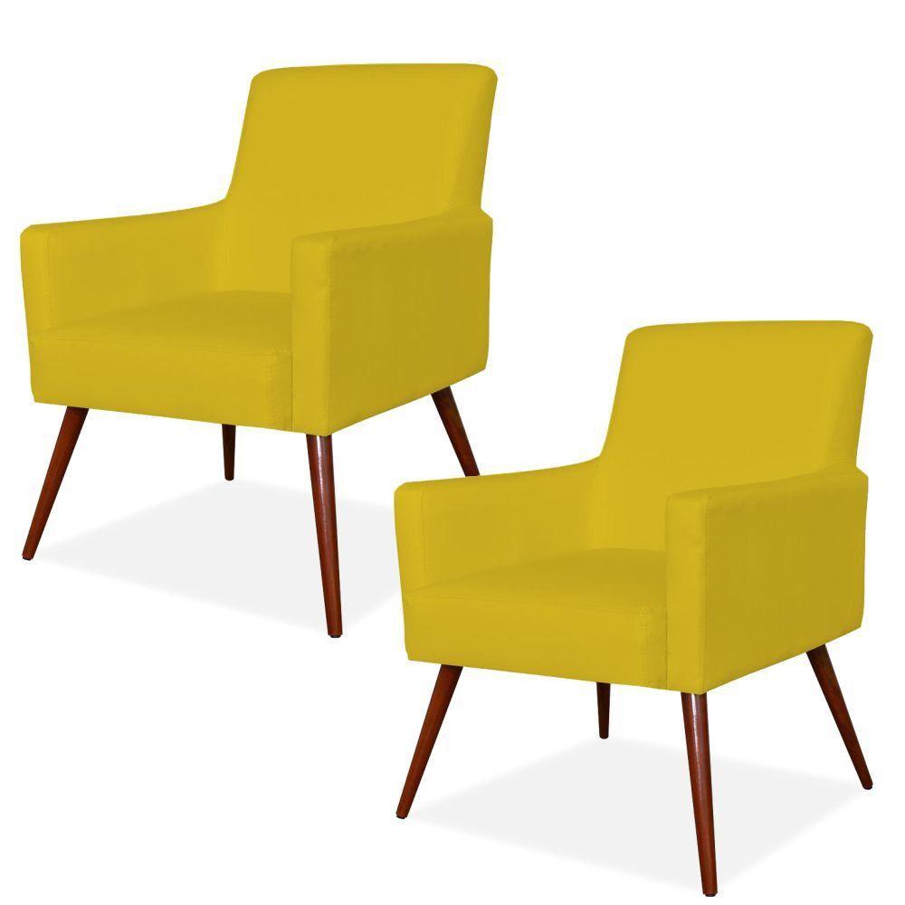 Kit 02 Poltronas Decorativas Para Sala de Estar e Recepção Maria W01 Pés Palito Corino Amarelo - Lyam Decor