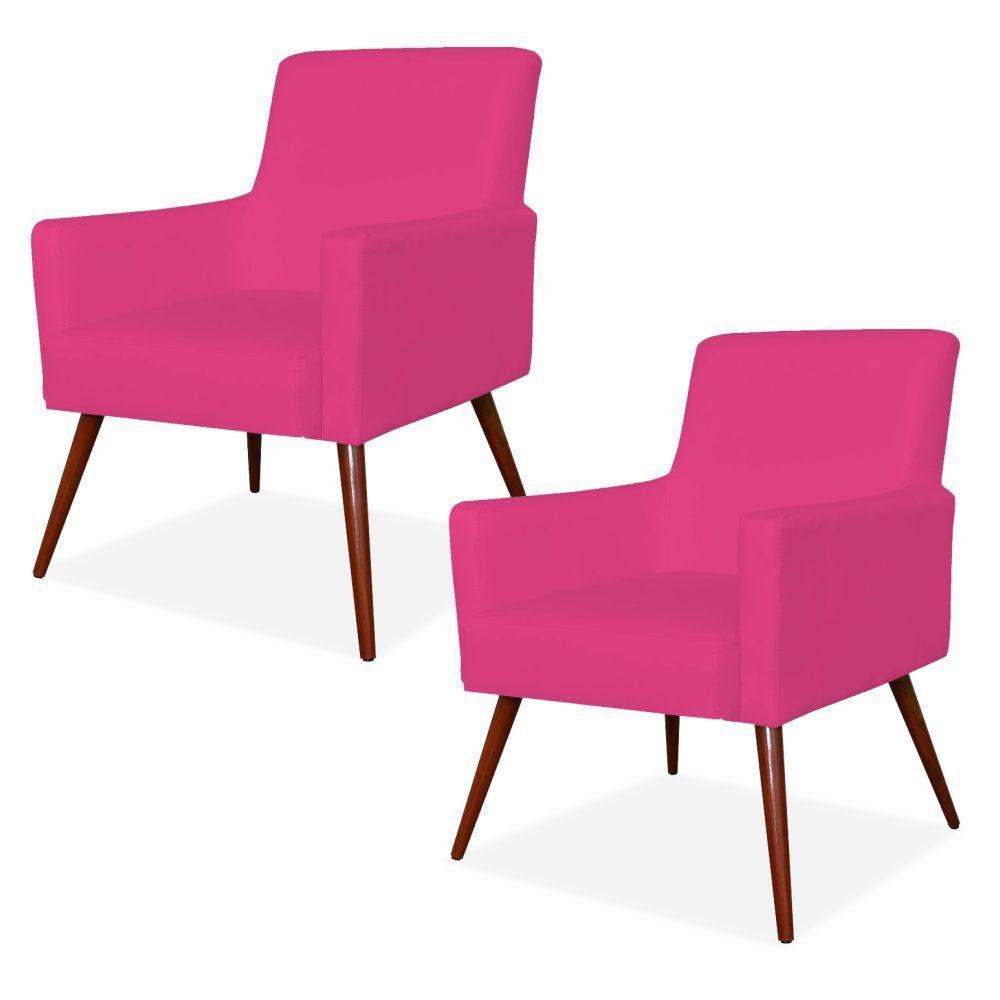 Kit 02 Poltronas Decorativas Para Sala de Estar e Recepção Maria W01 Pés Palito Corino Pink - Lyam Decor