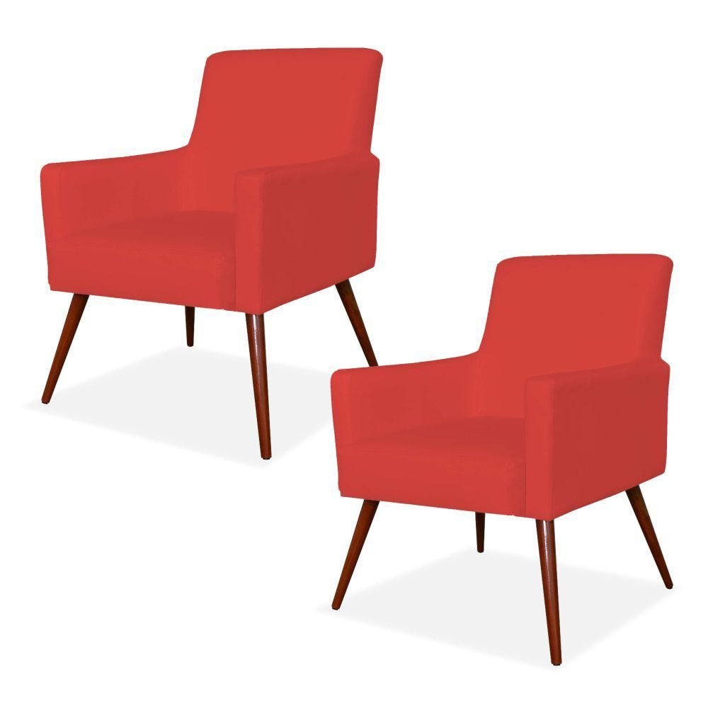 Kit 02 Poltronas Decorativas Para Sala de Estar e Recepção Maria W01 Pés Palito Corino Vermelho - Lyam Decor