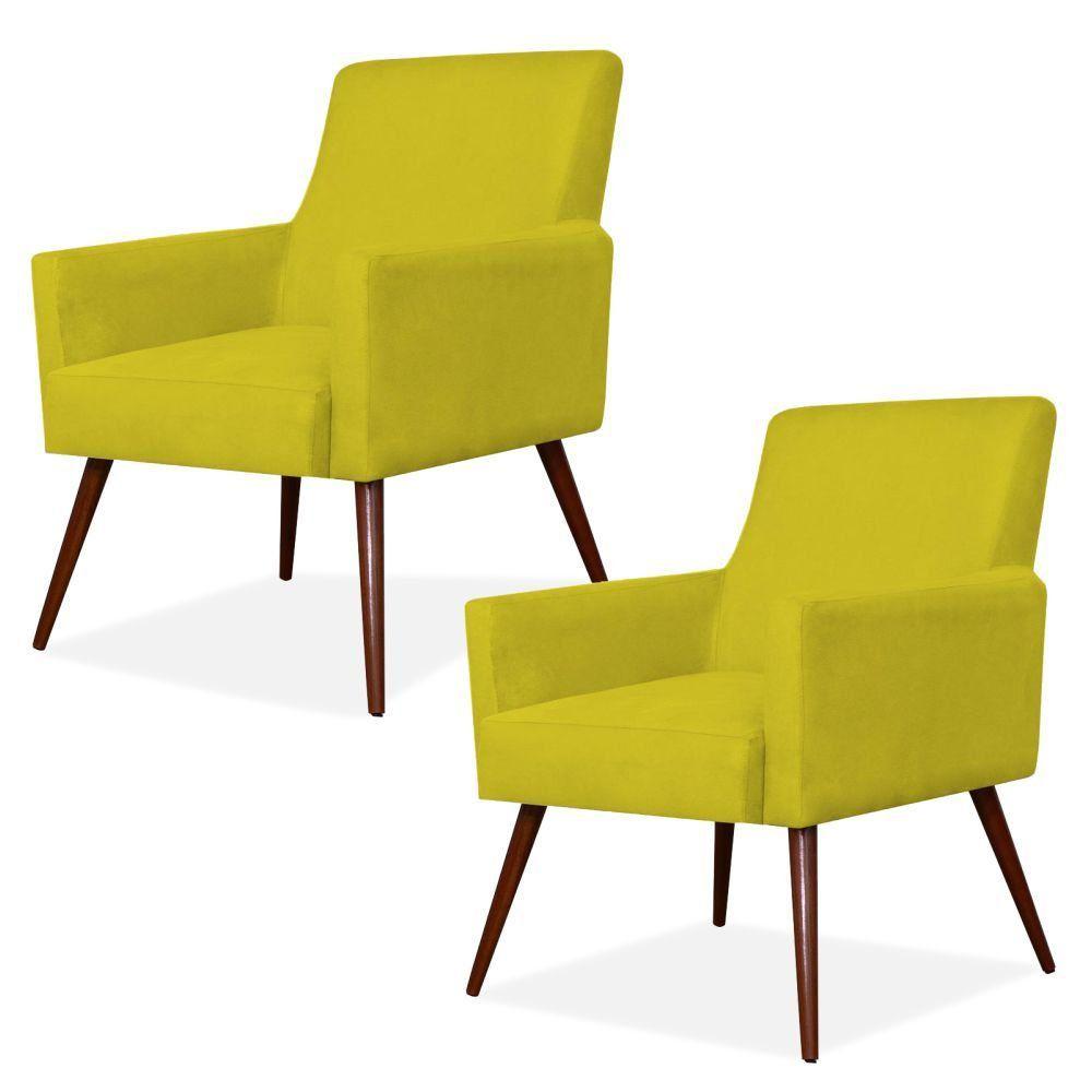 Kit 02 Poltronas Decorativas Para Sala de Estar e Recepção Maria W01 Pés Palito Suede Amarelo - Lyam Decor