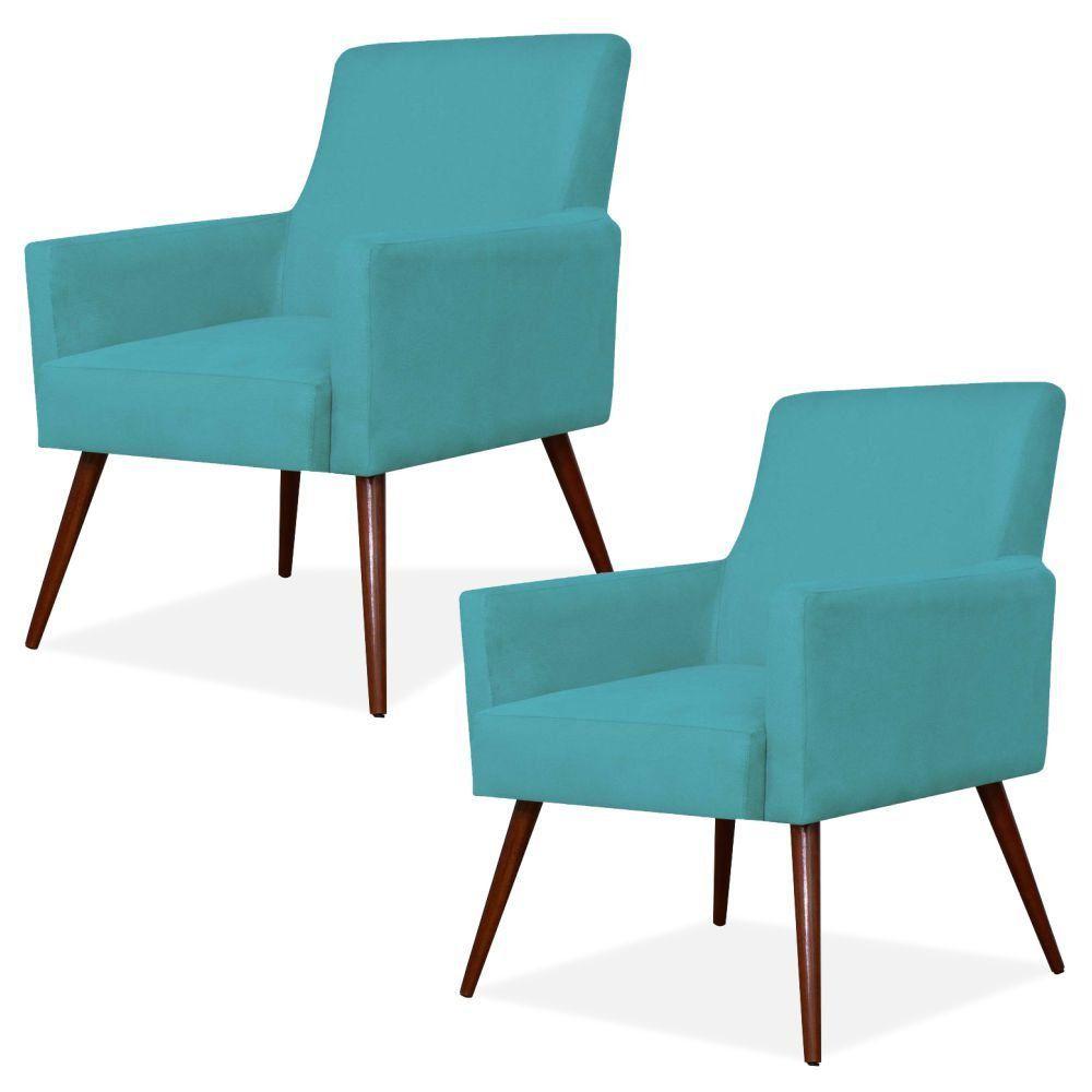 Kit 02 Poltronas Decorativas Para Sala de Estar e Recepção Maria W01 Pés Palito Suede Azul - Lyam Decor