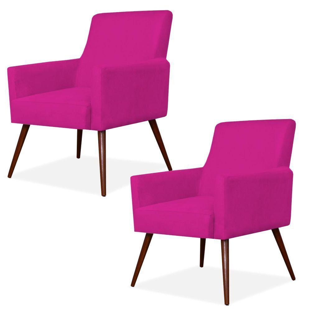 Kit 02 Poltronas Decorativas Para Sala de Estar e Recepção Maria W01 Pés Palito Suede Pink - Lyam Decor