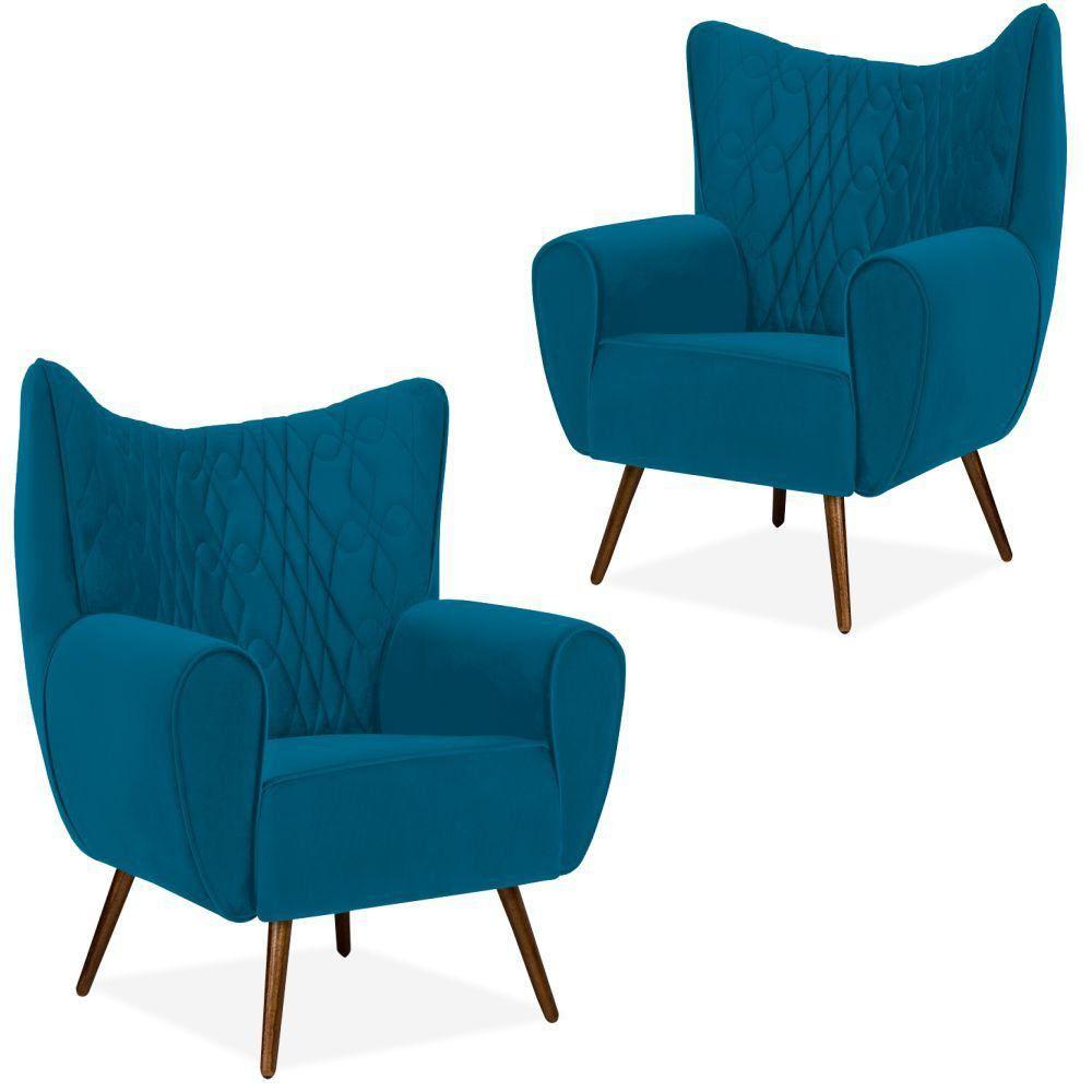 Kit 02 Poltronas Decorativas Para Sala de Estar Kora D02 Pés Palito Tressê Veludo Liso Azul B-170 - Lyam Decor