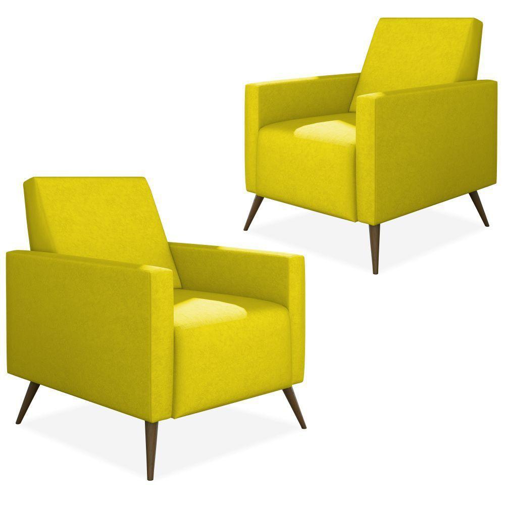 Kit 02 Poltronas Decorativas Para Sala de Estar Pés Palito Liz P02 Suede Amarelo - Lyam Decor