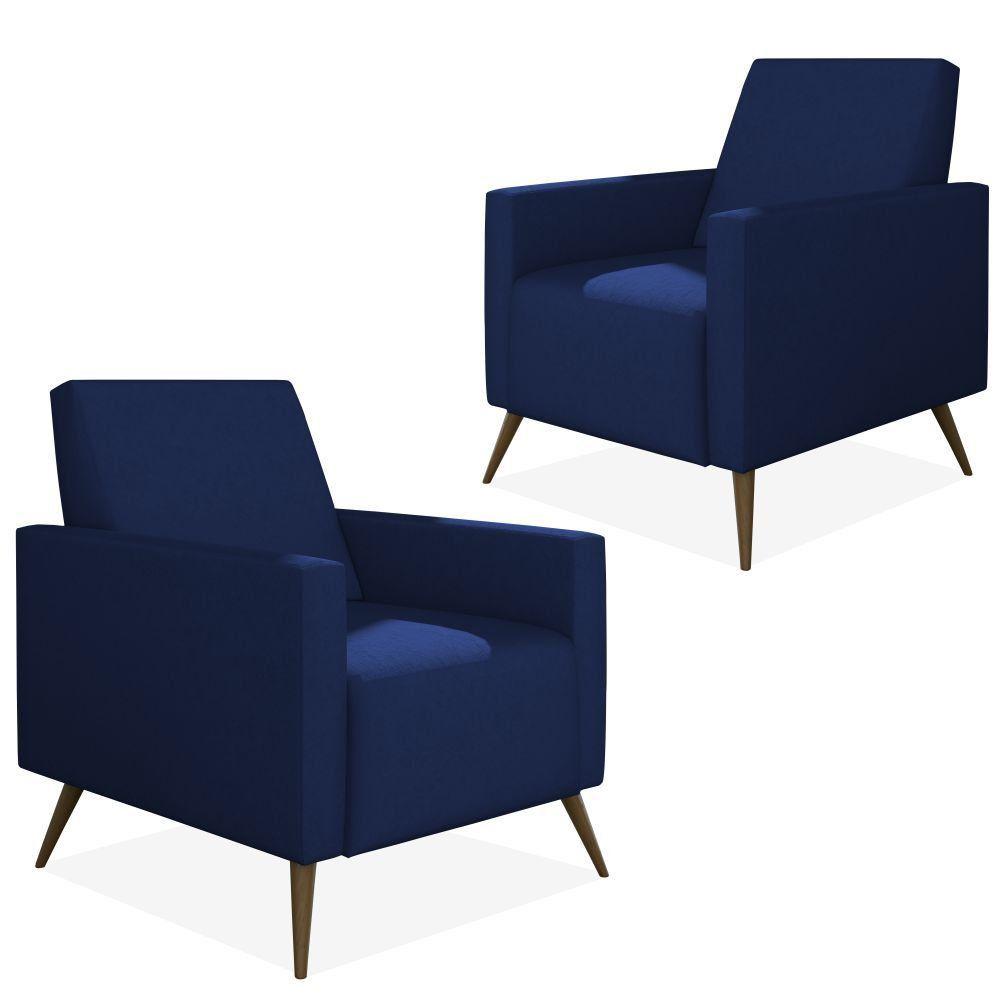 Kit 02 Poltronas Decorativas Para Sala de Estar Pés Palito Liz P02 Suede Azul Marinho - Lyam Decor
