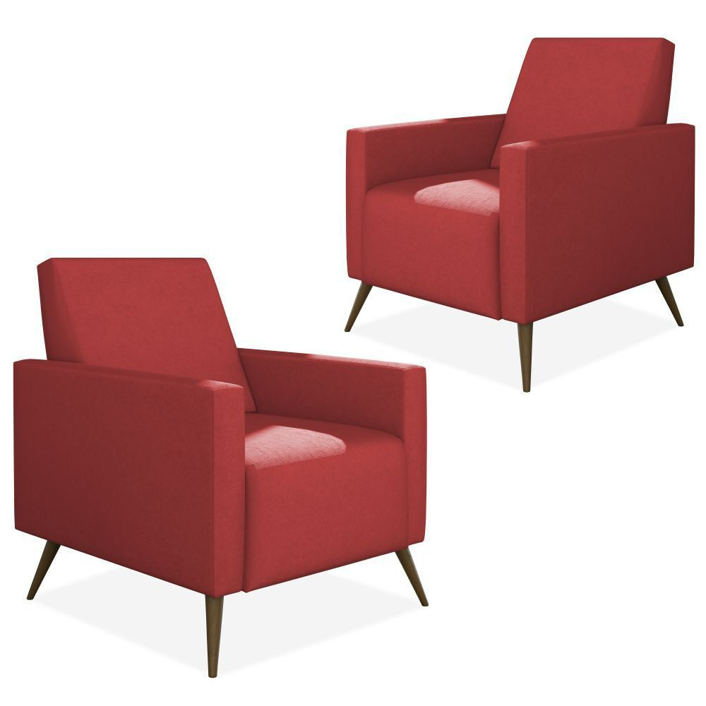 Kit 02 Poltronas Decorativas Para Sala de Estar Pés Palito Liz P02 Suede Vermelho - Lyam Decor
