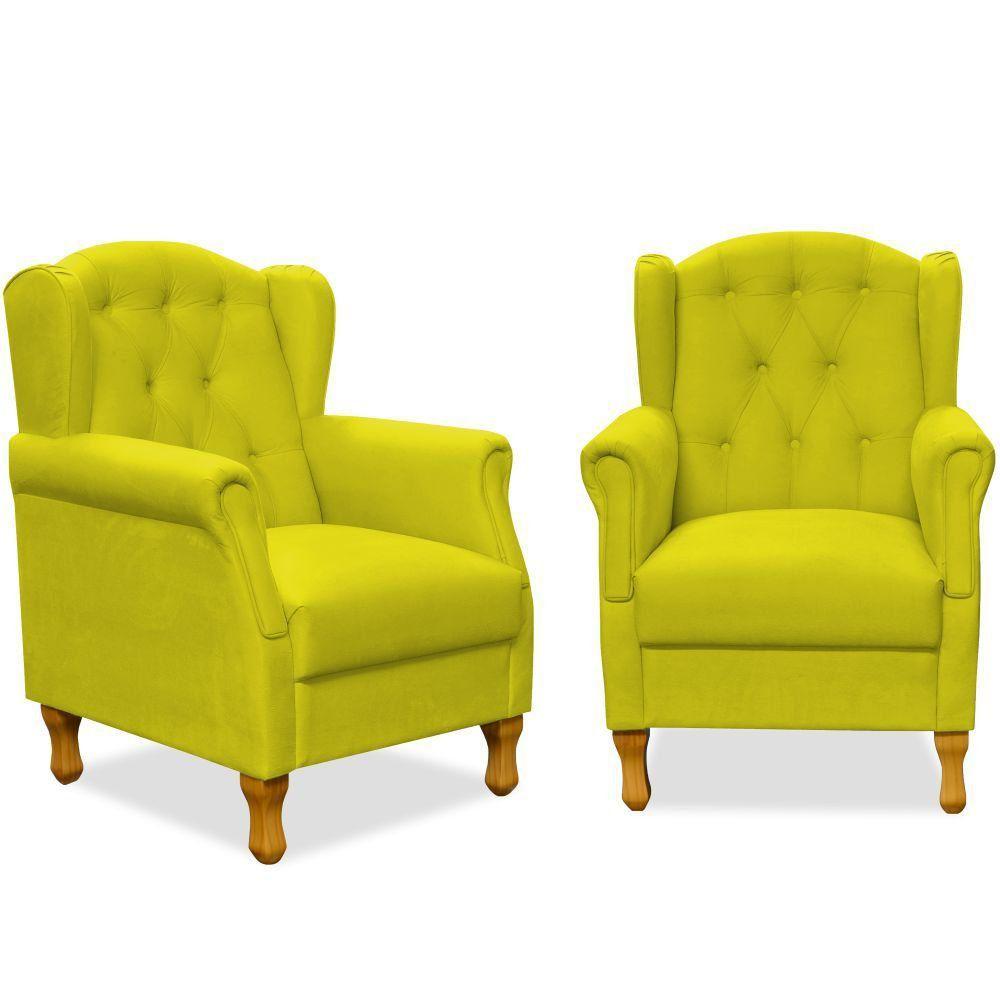 Kit 02 Poltronas Decorativas Para Sala de Estar Yara P02 Suede Amarelo - Lyam Decor
