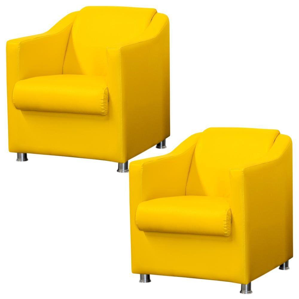 Kit 02 Poltronas Decorativas Para Sala e Escritório Laura L02 Corino Amarelo - Lyam Decor