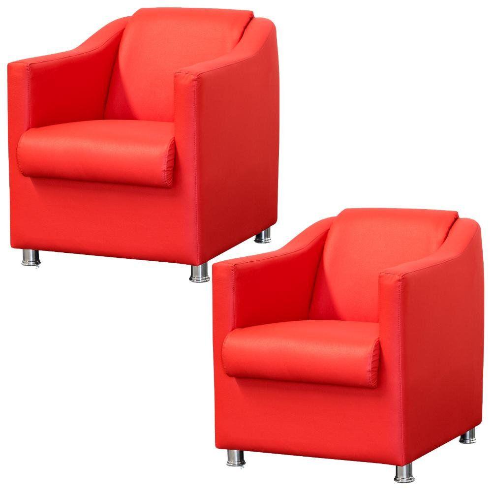 Kit 02 Poltronas Decorativas Para Sala e Escritório Laura L02 Corino Vermelho - Lyam Decor