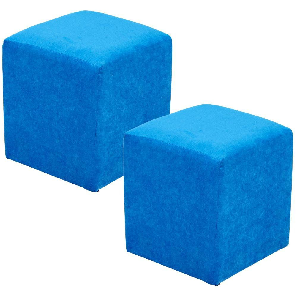 Kit 02 Puff Quadrado L02 Decorativo Tecido Azul Royal - Lyam Decor