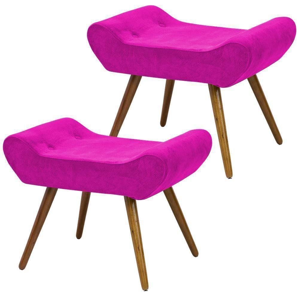 Kit 02 Puffs Alice L02 Banqueta Suede Pink Pés Palito - Lyam Decor