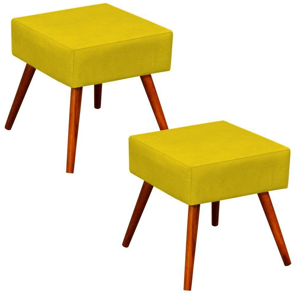 Kit 02 Puffs Banqueta Decorativa com Pés Palito Lívia W01 Suede Amarelo - Lyam Decor