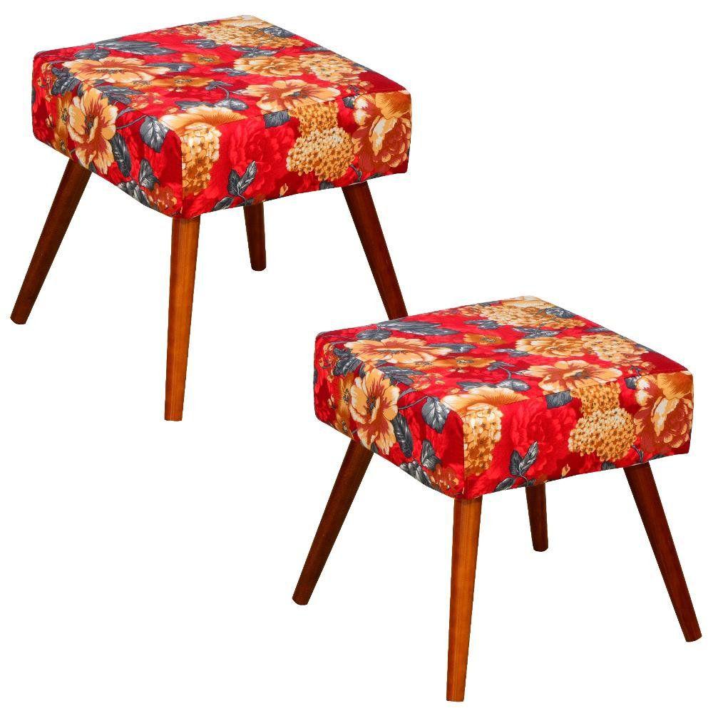 Kit 02 Puffs Banqueta Decorativa com Pés Palito Lívia W01 Vermelho Estampado - Lyam Decor