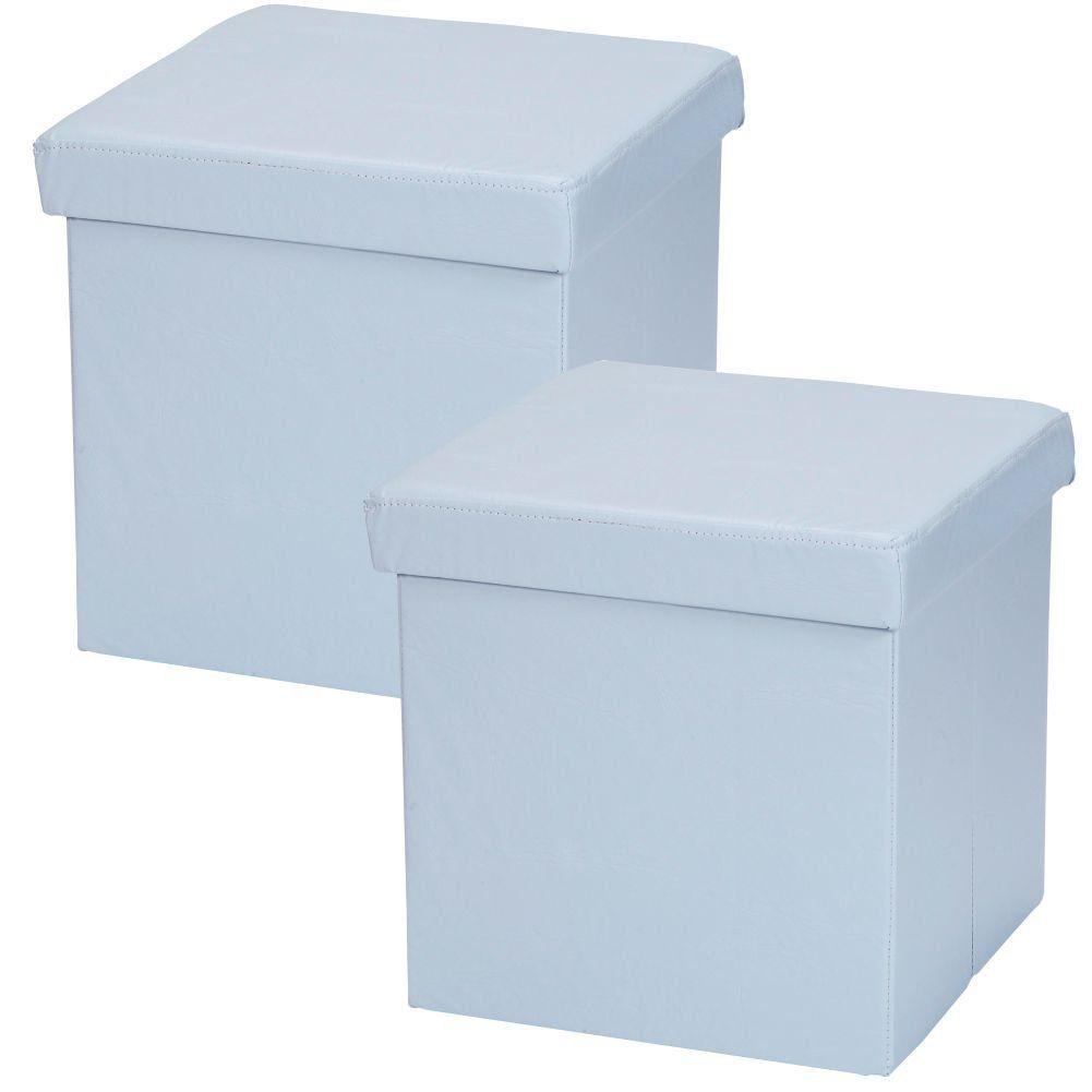 Kit 02 Puffs Baú Desmontável Para Sala Quarto Corino Azul 38x38 M01 - Lyam Decor