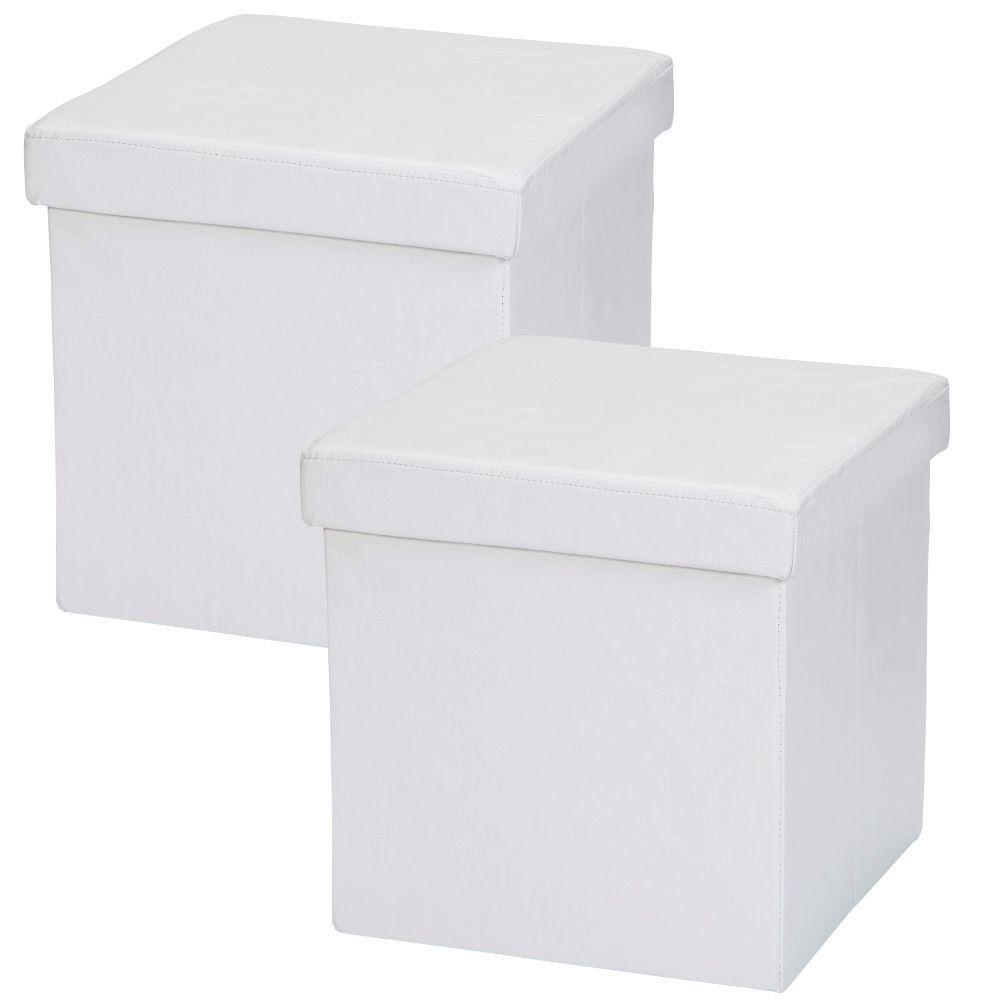 Kit 02 Puffs Baú Desmontável Para Sala Quarto Corino Branco 38x38 M01 - Lyam Decor