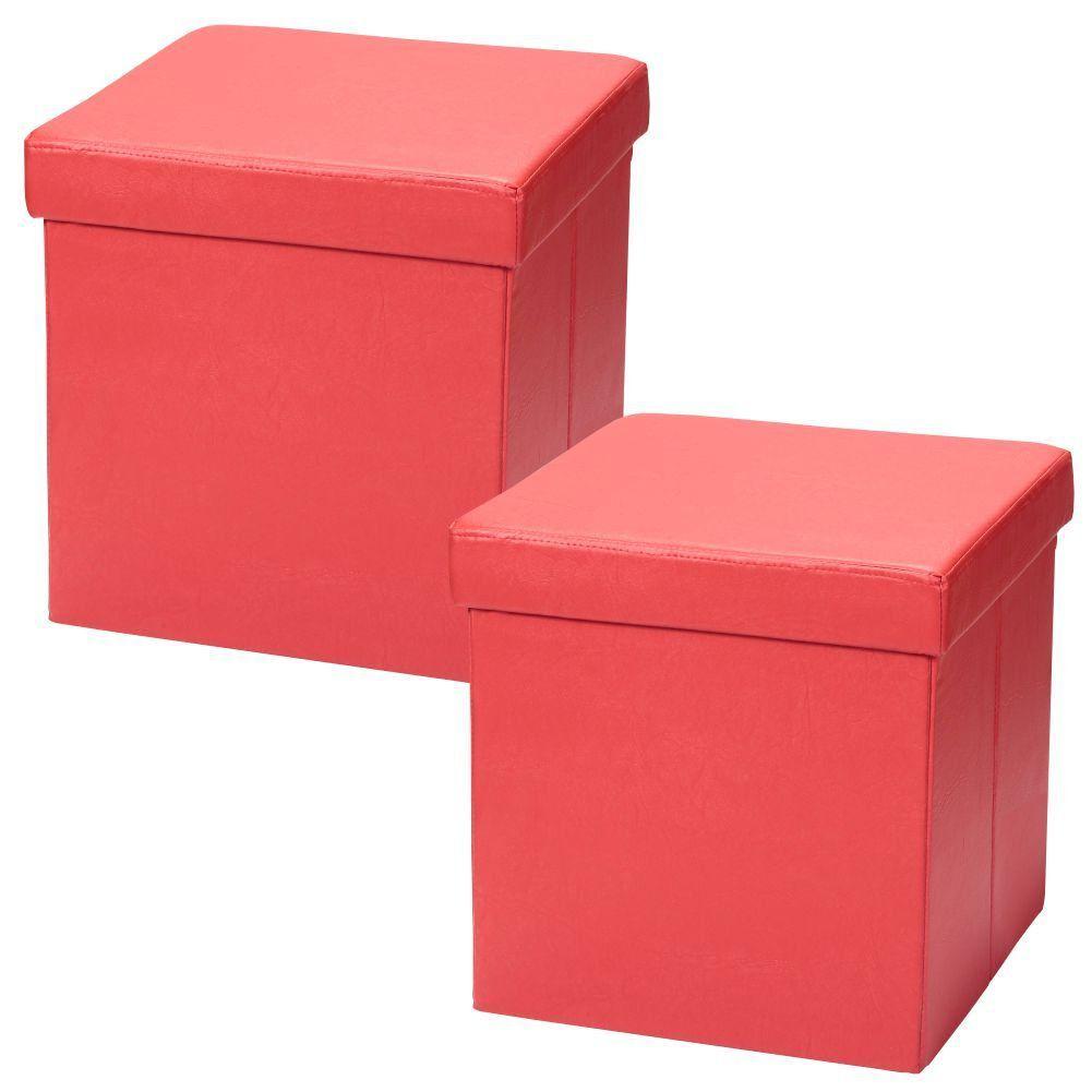 Kit 02 Puffs Baú Desmontável Para Sala Quarto Corino Vermelho 38x38 M01 - Lyam Decor