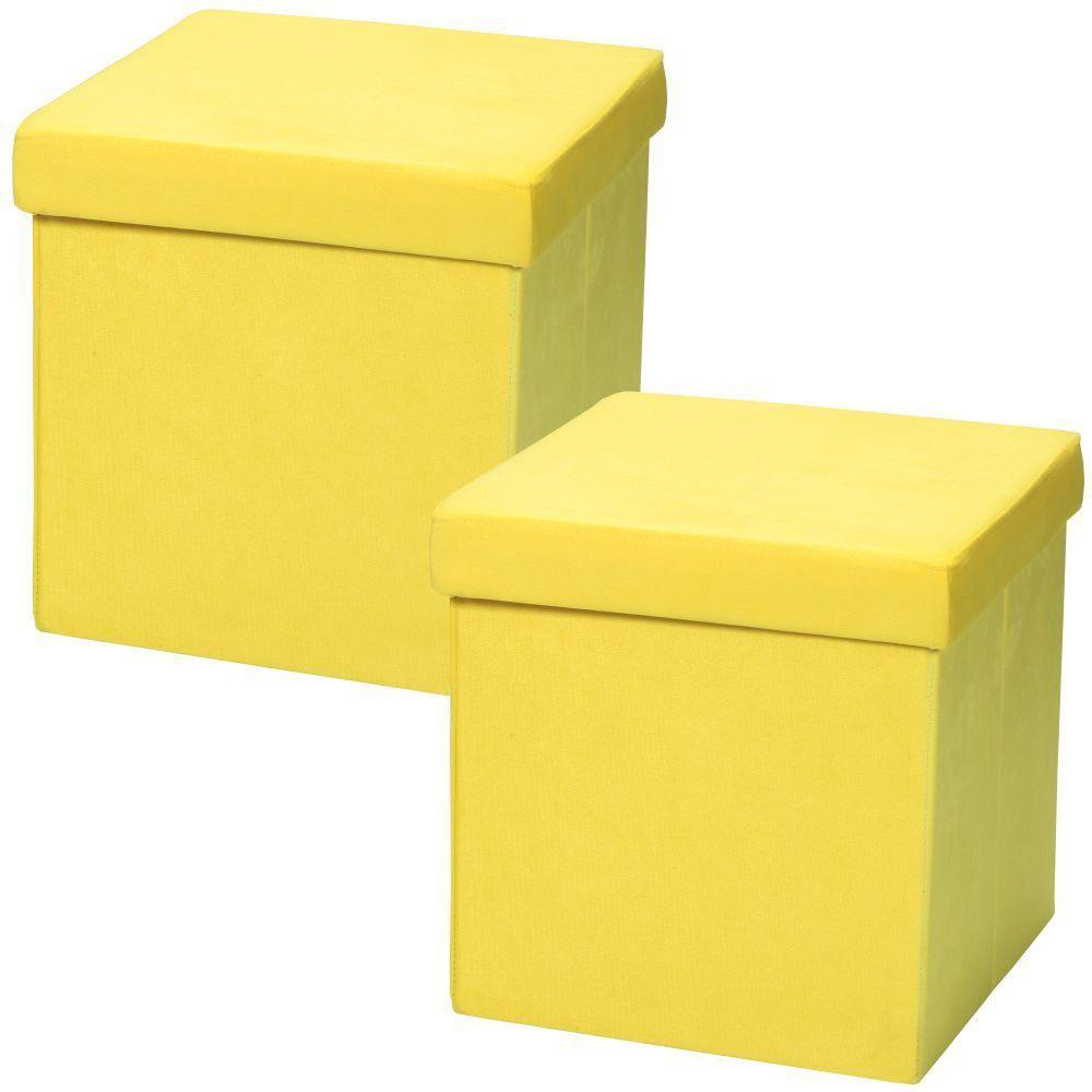 Kit 02 Puffs Baú Desmontável Para Sala Quarto Suede Amarelo 38x38 M01 - Lyam Decor