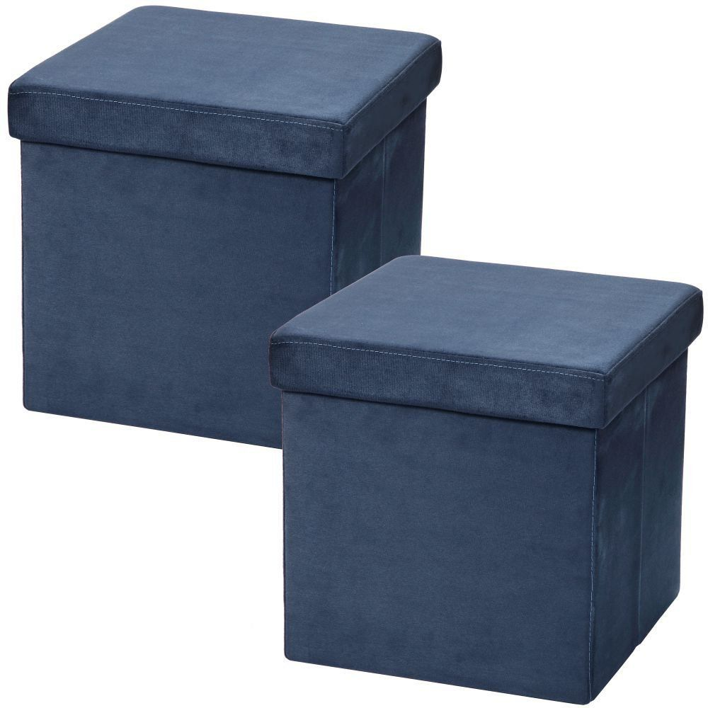 Kit 02 Puffs Baú Desmontável Para Sala Quarto Suede Azul 38x38 M01 - Lyam Decor