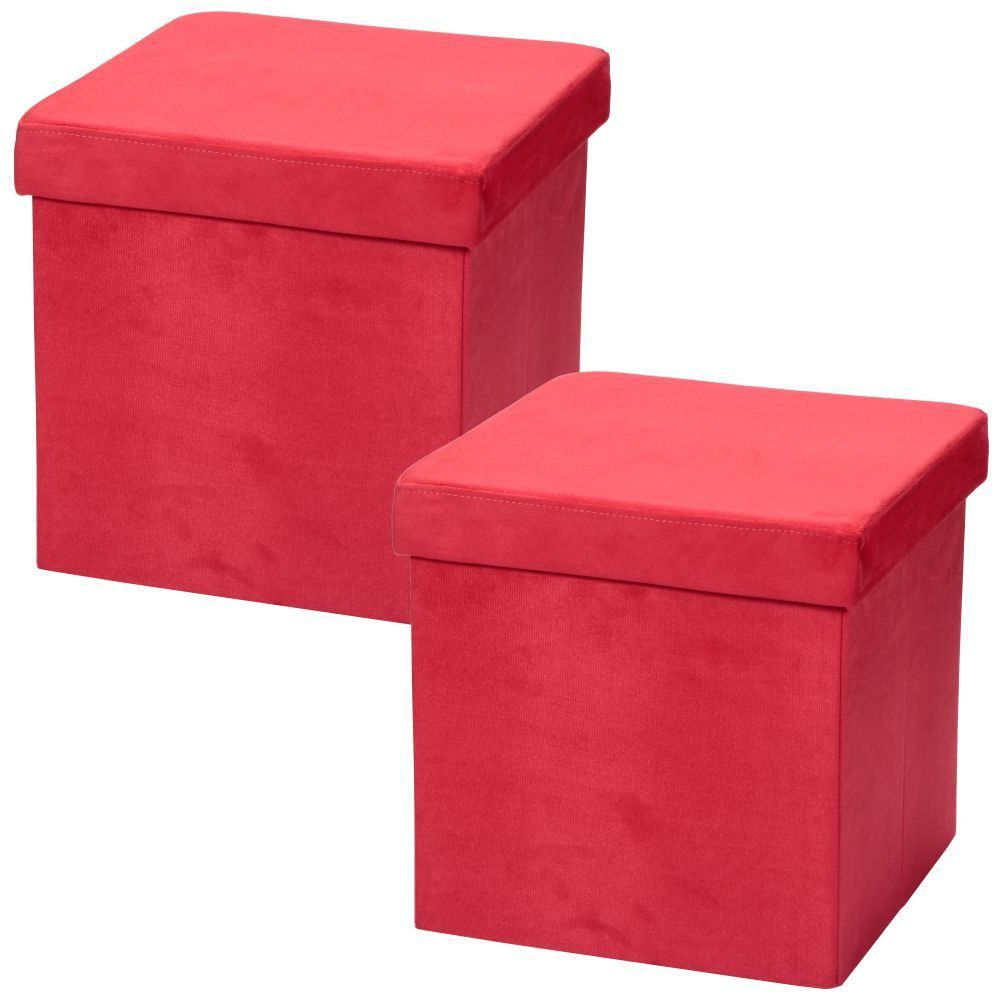 Kit 02 Puffs Baú Desmontável Para Sala Quarto Suede Vermelho 38x38 M01 - Lyam Decor