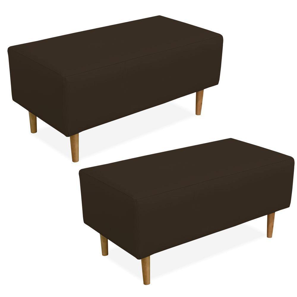 Kit 02 Puffs Decorativo Sala de Estar Cléo W01 Pés Palito 90 cm Corino Marrom - Lyam Decor