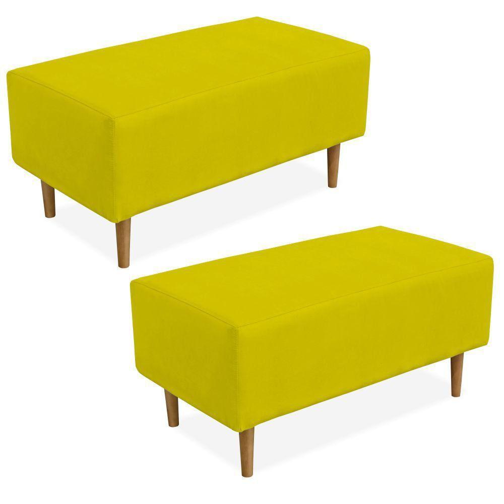 Kit 02 Puffs Decorativo Sala de Estar Cléo W01 Pés Palito 90 cm Suede Amarelo - Lyam Decor