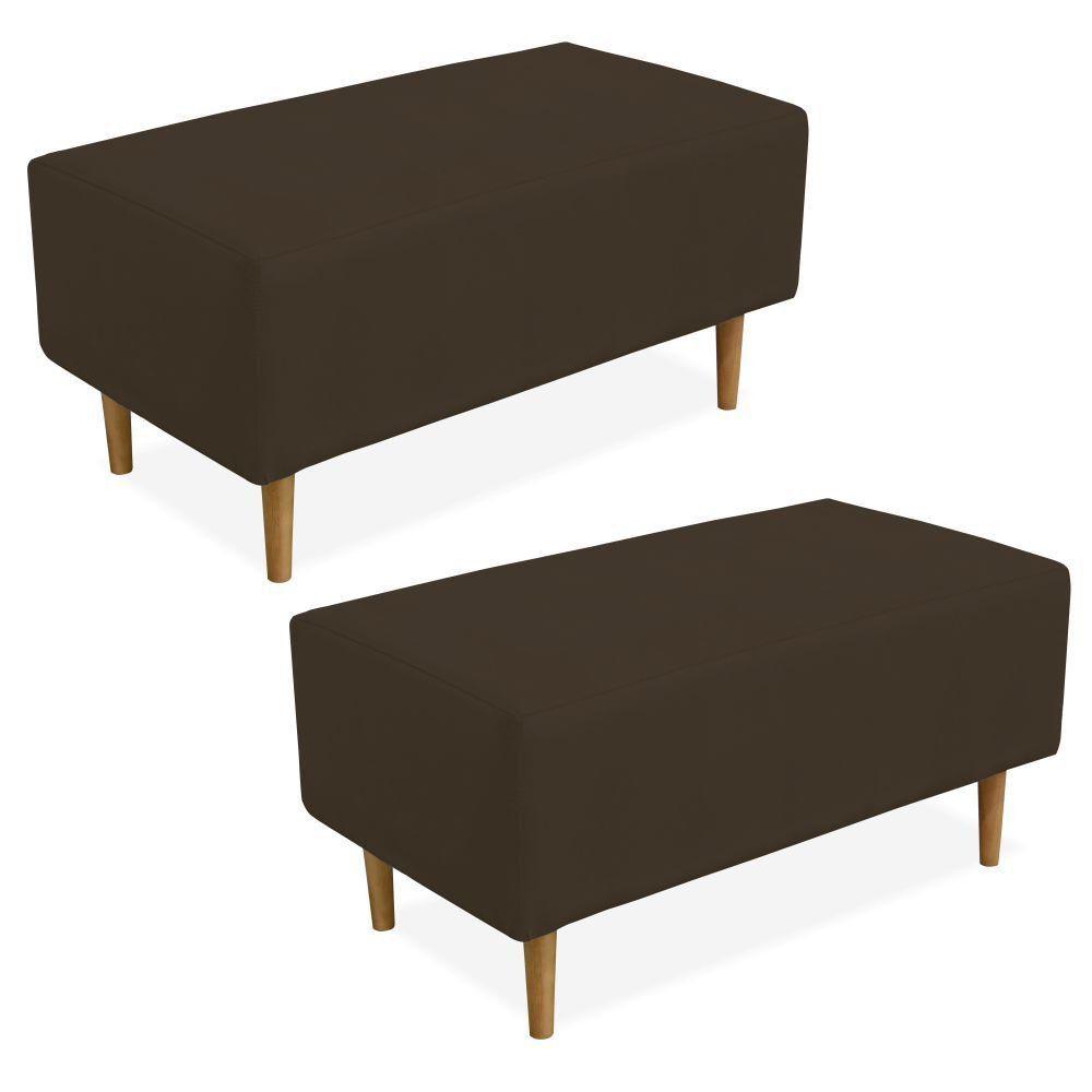 Kit 02 Puffs Decorativo Sala de Estar Cléo W01 Pés Palito 90 cm Suede Marrom - Lyam Decor