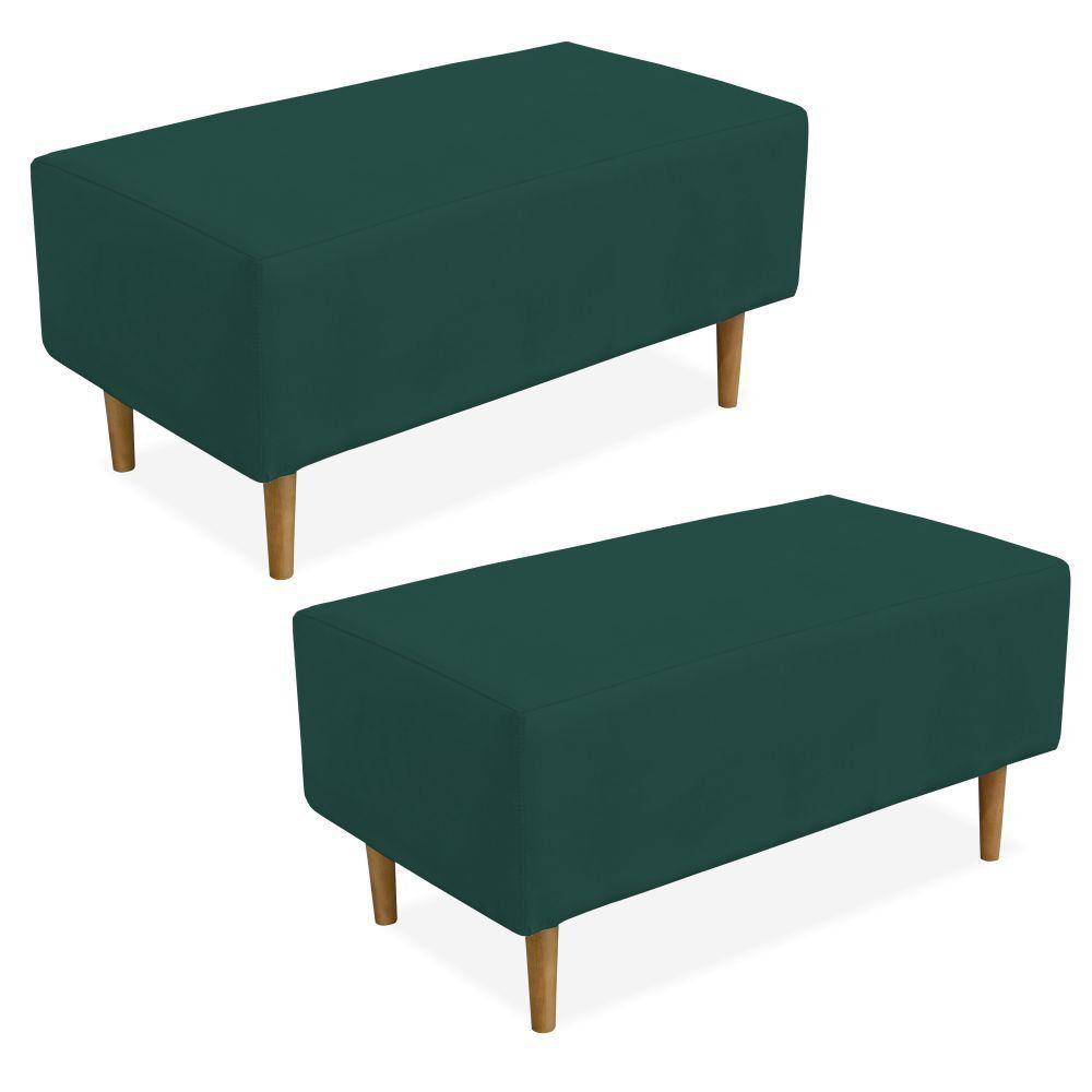 Kit 02 Puffs Decorativo Sala de Estar Cléo W01 Pés Palito 90 cm Suede Verde Musgo - Lyam Decor
