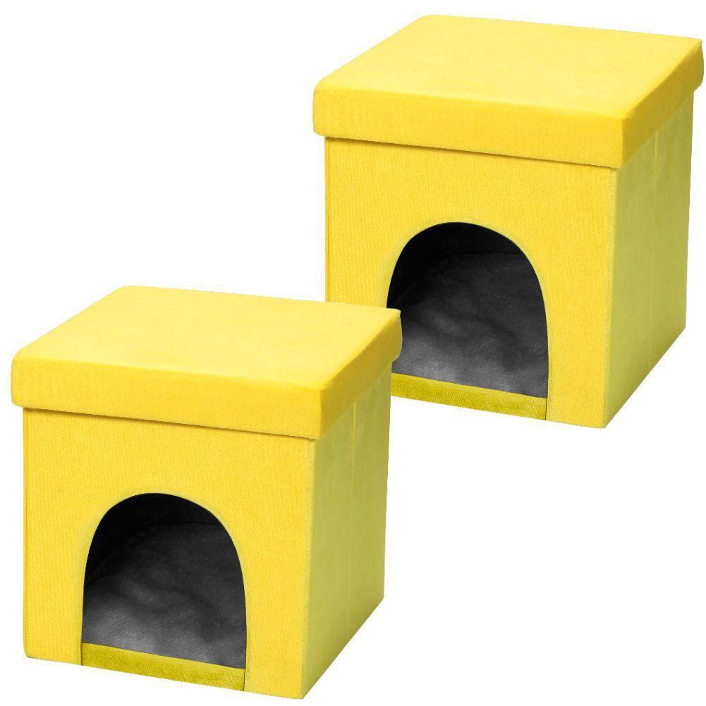 Kit 02 Puffs Pet Baú Casinha Desmontável Dobrável Suede Amarelo 38x38 M01 - Lyam Decor