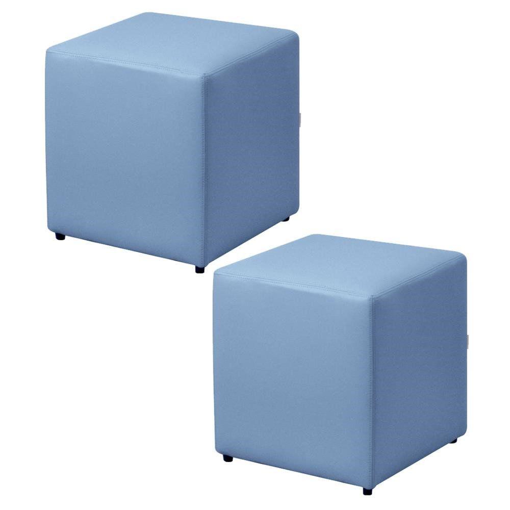 Kit 02 Puffs Quadrado L02 Decorativo Corino Azul - Lyam Decor
