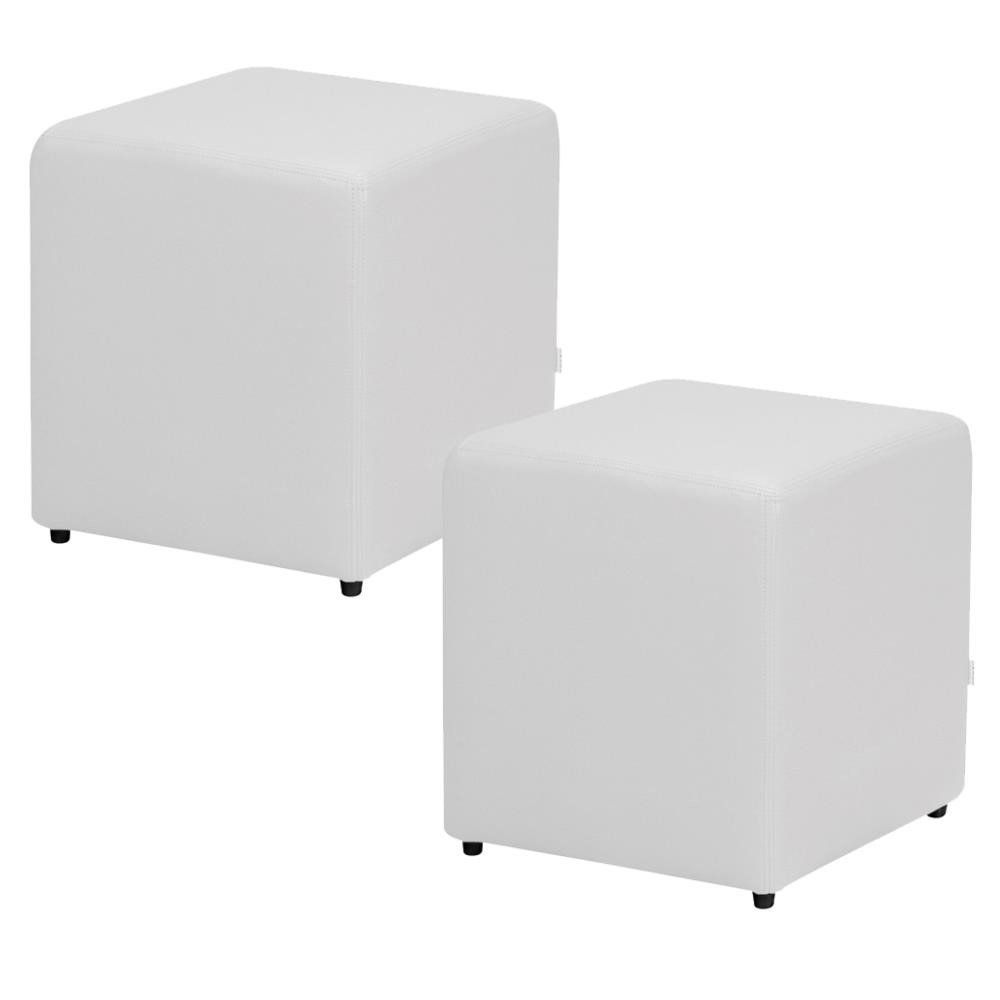 Kit 02 Puffs Quadrado L02 Decorativo Corino Branco - Lyam Decor