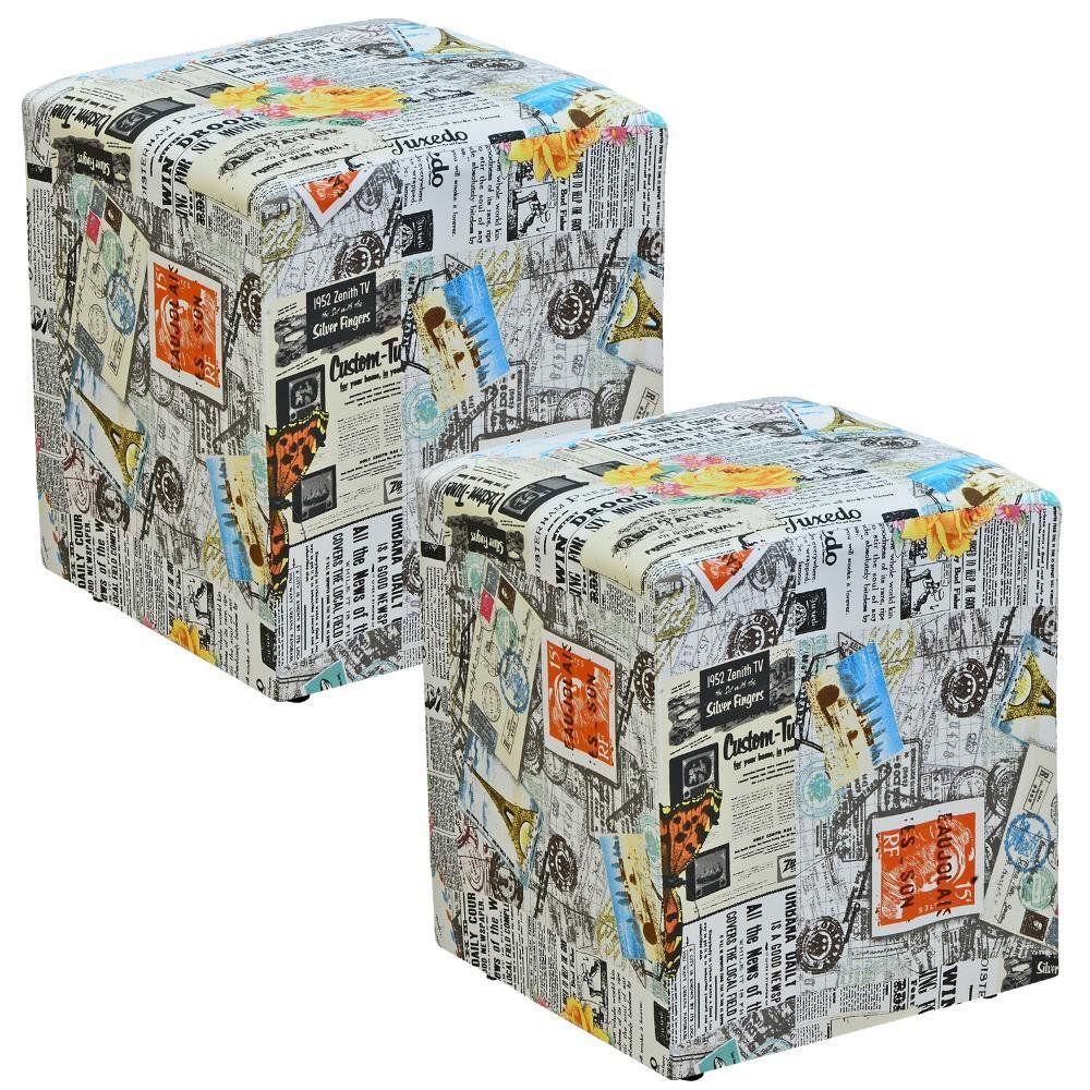 Kit 02 Puffs Quadrado L02 Decorativo Jornal Impermealizado - Lyam Decor