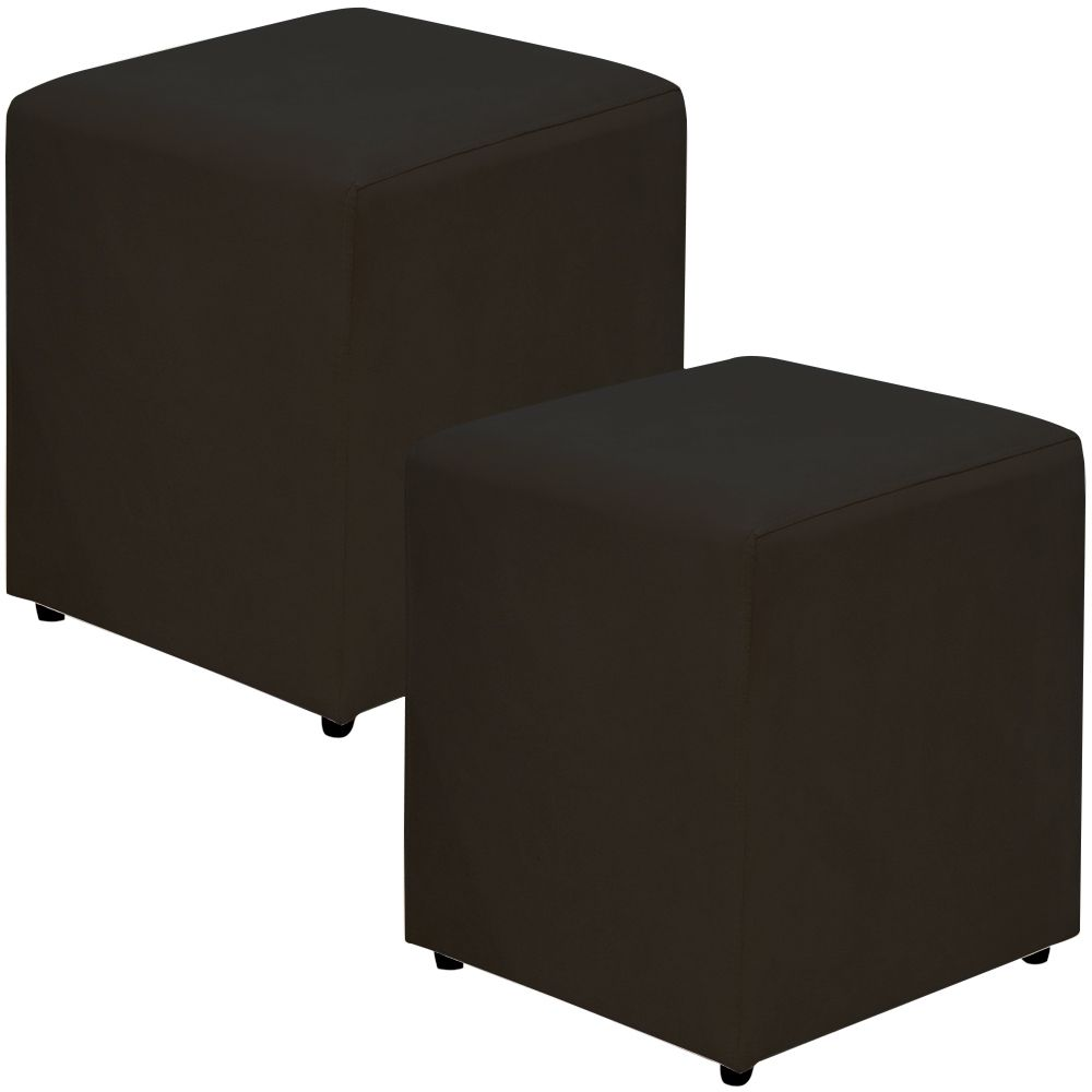 Kit 02 Puffs Quadrado L02 Decorativo Sala de Estar Suede Preto - Lyam Decor