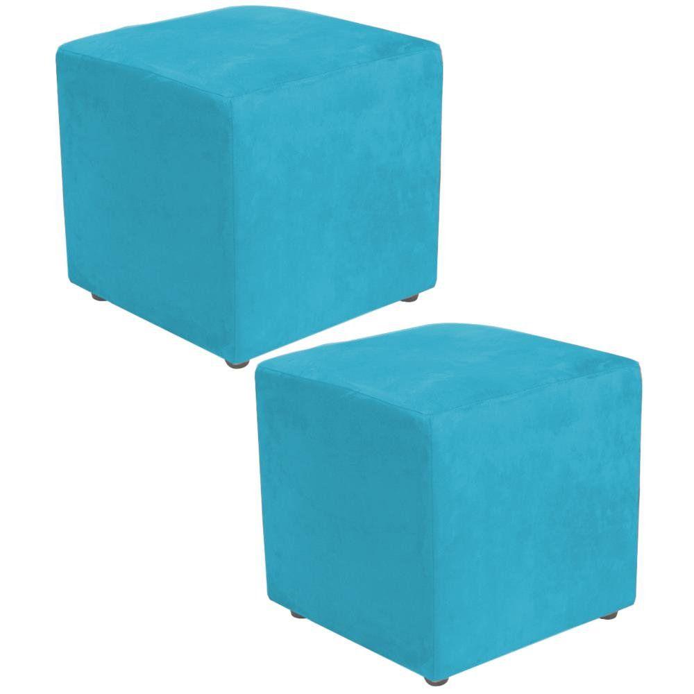 Kit 02 Puffs Quadrado L02 Decorativo Suede Azul Claro - Lyam Decor