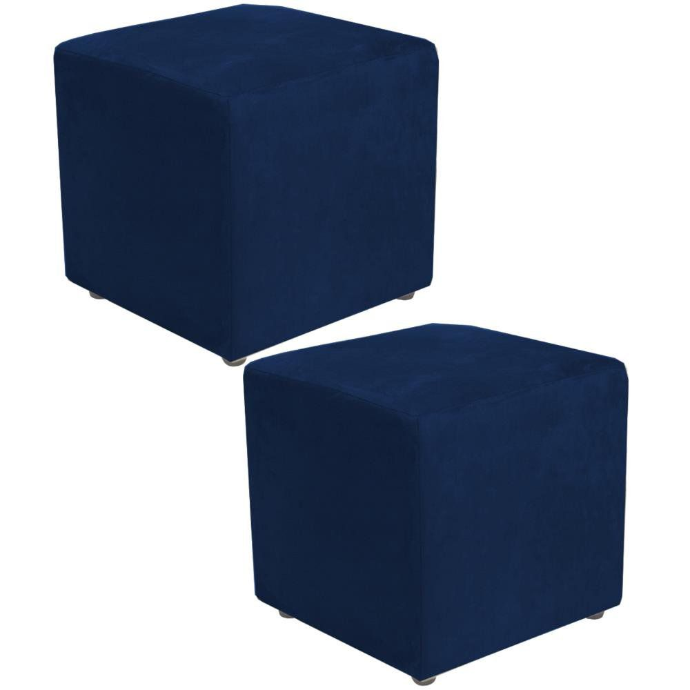 Kit 02 Puffs Quadrado L02 Decorativo Suede Azul Marinho - Lyam Decor