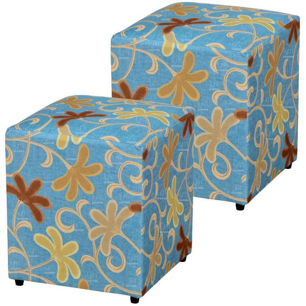 Kit 02 Puffs Quadrado L02 Decorativo Suede Floral Azul - Lyam Decor