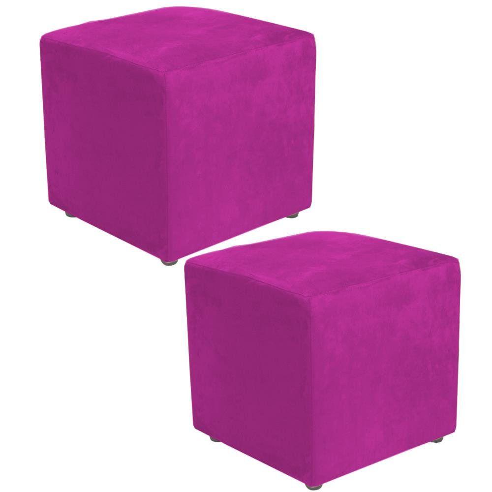 Kit 02 Puffs Quadrado L02 Decorativo Suede Pink - Lyam Decor