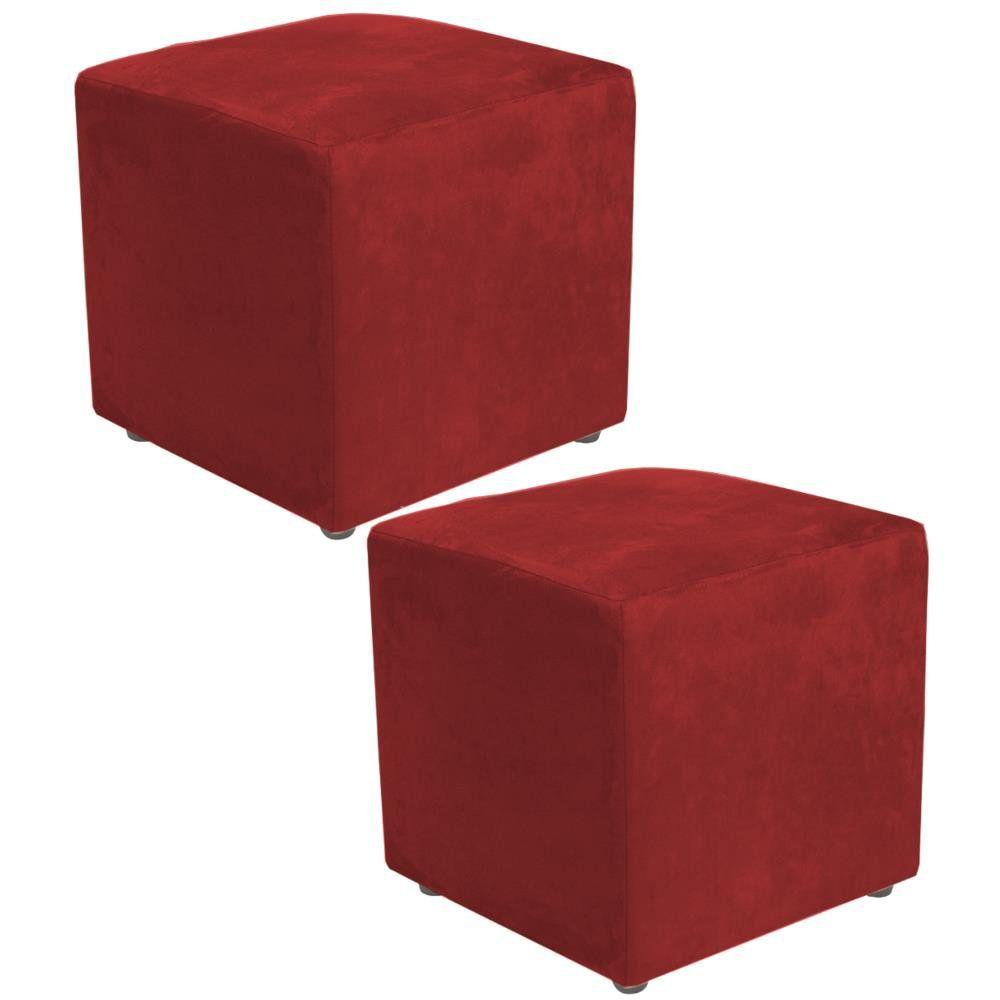 Kit 02 Puffs Quadrado L02 Decorativo Suede Vermelho - Lyam Decor